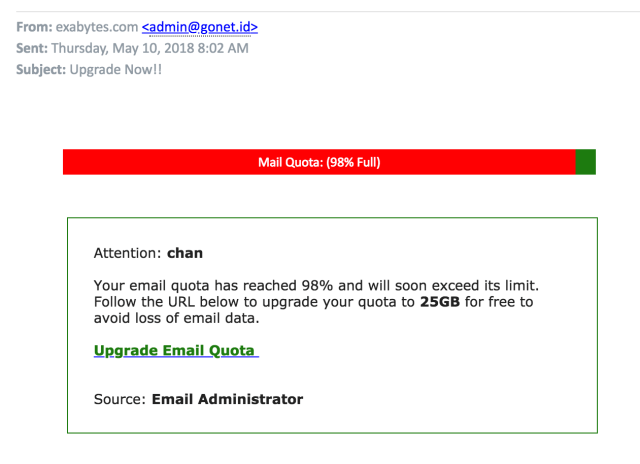Latest Scam Email Report from Exabytes