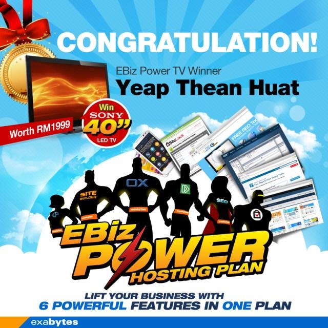 EBiz Power Hosting plan TV Winner