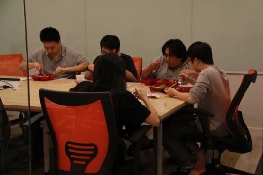 eating dinner at meeting room