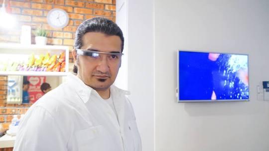 Hussin Khan wearing Google Glass