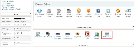 select Softaculous from cPanel