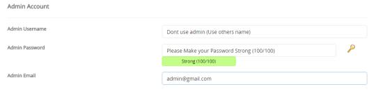 create password in Admin Account