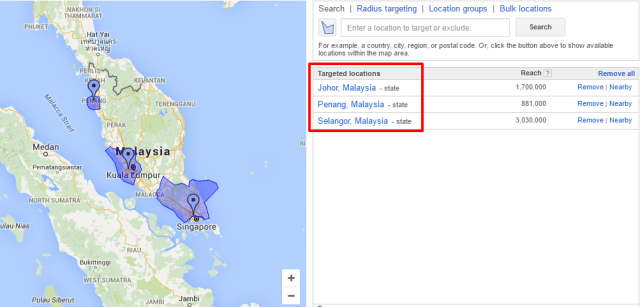 Google Ads - geo-targeting by state