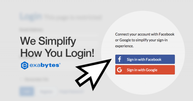 Exabytes Simplify how you login using Facebook or Google