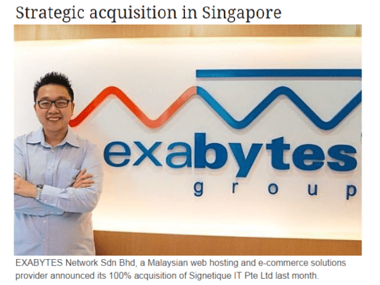 Strategic acquisition in Singapore - Exabytes Network