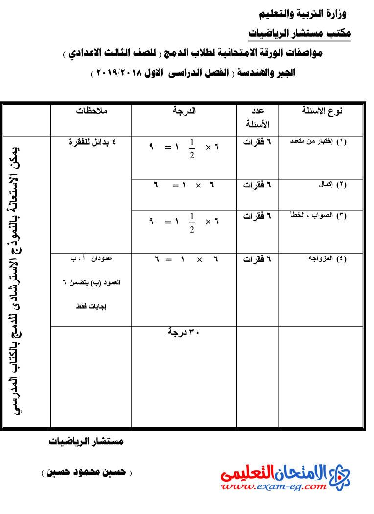 مواصفات امتحان الدمج مادة الرياضيات للصف الثالث الاعدادى الترم