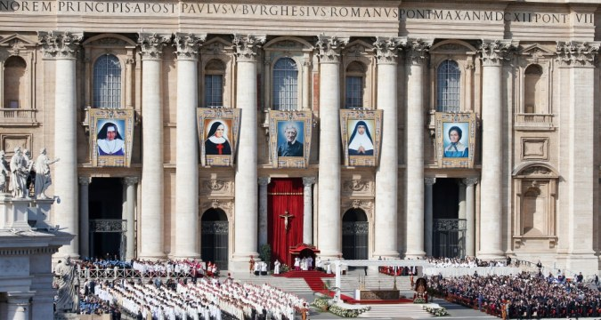 Pope Francis celebrates the canonisation Mass for five new saints in St. Peter's Square at the Vatican on October 13. Photo: CNS