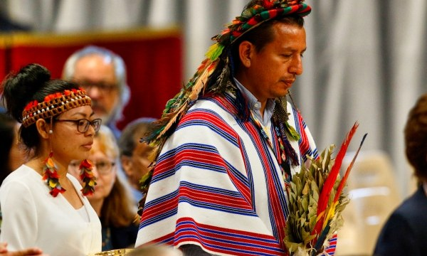 Indigenous people carry offertory gifts as Pope Francis celebrates the concluding Mass of the Synod of Bishops for the Amazon at St. Peter's Basilica on October 27. Photo: CNS