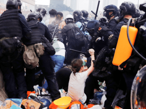 Protesters and riot police clash in Hong Kong on June 12. Photo: CNS /Reuters