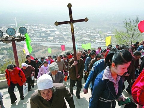 A pilgrimage honouring Mary on the outskirts of Taiyuan, the capital of Shanxi province. File photo: CNS/Reuters