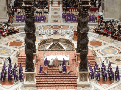 Pope Francis concelebrates Mass with Filipino priests in Rome at St. Peter's Basilica on 15 December 2019, the first evening of Simbang Gabi, the novena of nighttime or pre-dawn Masses unique to the Philippines, in preparation for Christmas. Photo: CNS/Vatican Media