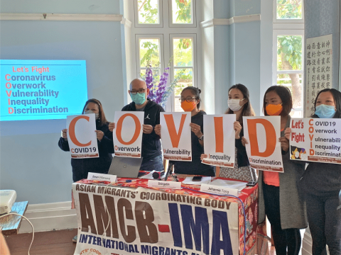 Migrant rights group calling for more care for foreign domestic workers during the Covid 19 epidemic at a press conference on March 16.