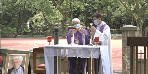 Cardinal Zen and Father Cheung celebrating the memorial Mass for Father Hurley on April 20. Photo: screenshot of Justice and Peace Commission webcast