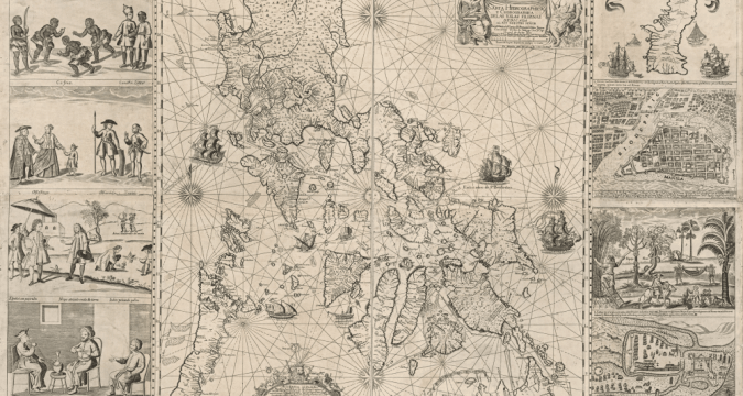 A hydrographical and chorographical chart of the Philippines, with inset detail, produced by cartographer, Jesuit Father Pedro Murillo Velarde; engraver, Nicolás de la Cruz Bagay, and artist, Francisco Suarez (1696-1753) and published in Manila in 1734. Public domain