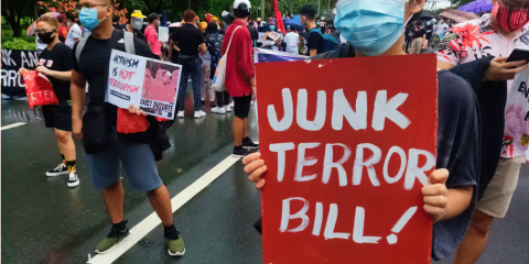 Rights groups and different sectors took part in a large protest action opposing the anti-terror bill at the University of the Philippines Diliman, Quezon City, on June 12. Photo: Migrante International