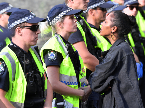 A protester confronts police during a Black Lives Matter protest in Brisbane, Australia, on June 17. Photo: CNS /AAP Image via Reuters