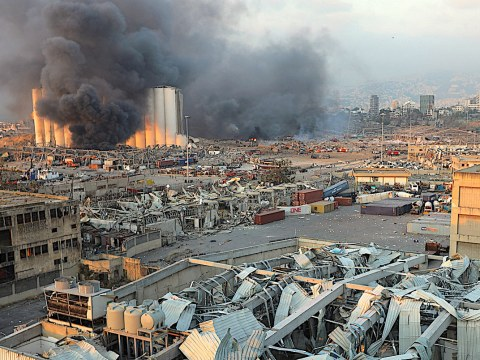 Smoke rises from the site of two massive explosions in Beirut, Lebanon on August 4. Photo: CNS /Reuters