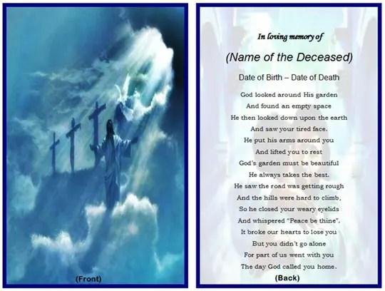 Free Printable Funeral Prayer Card Template - FREE DOWNLOAD