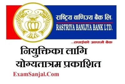 Rastriya Banijya Bank Final Result with Merit List ( RBB Final Niyukti Notice)
