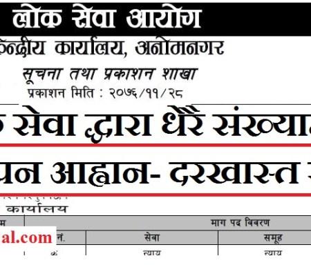 Lok Sewa Government Vacancy Notice in Various post ( Kharidar Vacancy 2076 Lok Sewa)