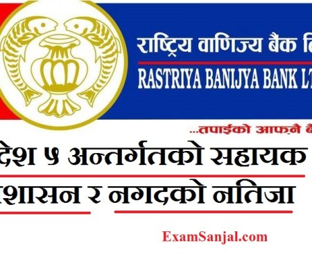 Rastriya Banijya Bank Pradesh 5 Written Result Admin & Cash