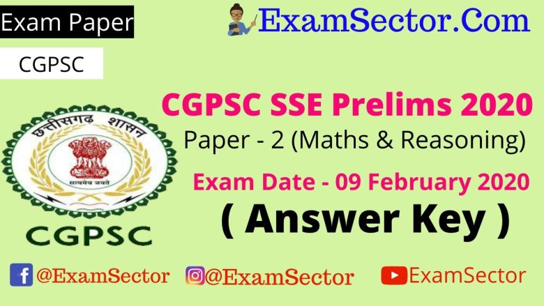 CGPSC Pre Exam Paper - 2 | 09 February 2020 ,
