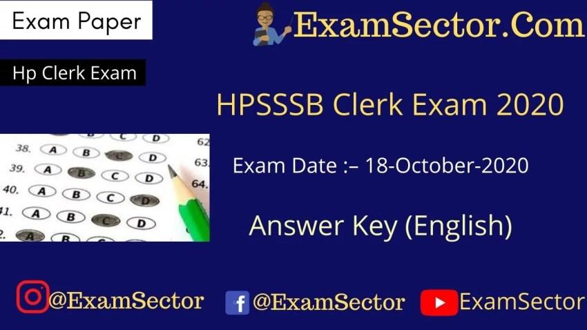 HPSSC Clerk Exam 18 October 2020 Answer Key