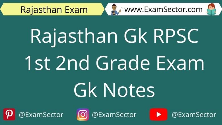 Rajasthan Gk RPSC 1st 2nd Grade Exam