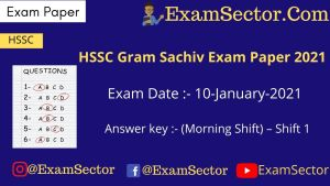 HSSC Gram Sachiv Exam Paper 10 Jan 2021 (1st Shift)