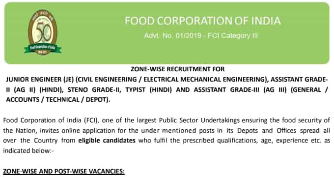 FCI Recruitment 2019 Notification for Various Posts Download Pdf