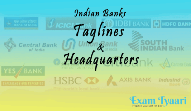 Banks Their taglines and Headquarters [PDF] - Exam Tyaari