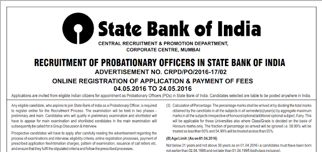 SBI PO 2016 : Notification Out [Apply Now]