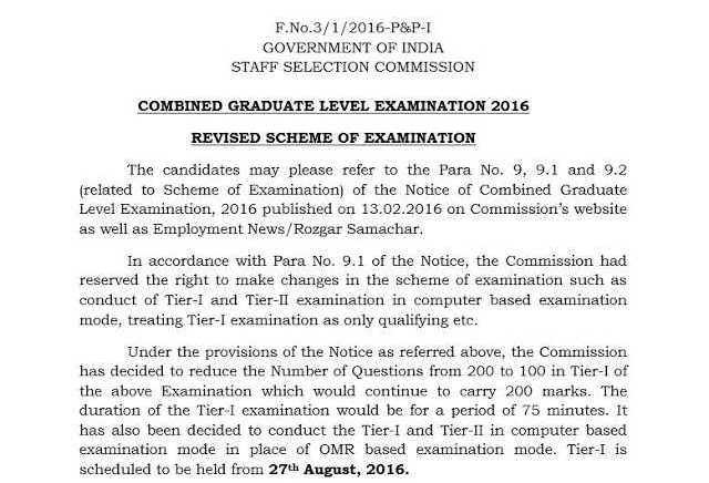SSC CGL 2016 : New Exam Pattern and Date [Official PDF] - Exam Tyaari