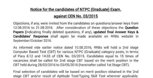Official: RRB NTPC Notice Regarding Result & Nature of Qualifying Stage 1- Check Now- Exam Tyaari