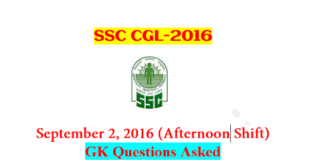 SSC CGL Tier-1 2016 : Questions Asked On 2 September - AfternoonShift [PDF] - Exam Tyaari
