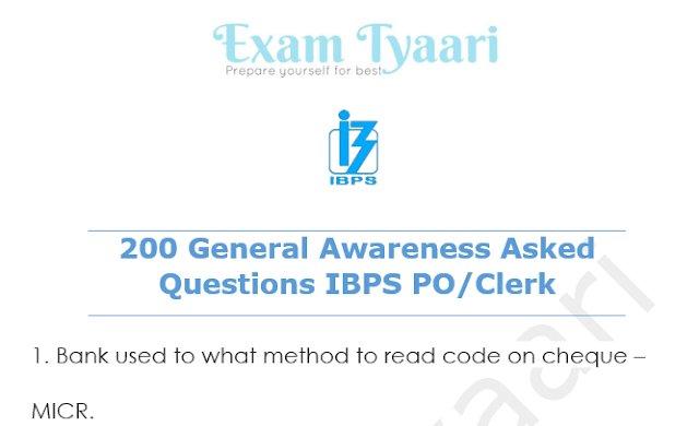 Top 200 General Awareness Questions Asked in IBPS  [PDF] - Exam Tyaari