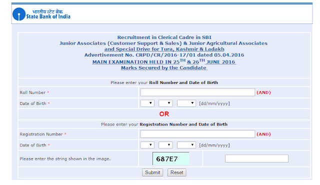 SBI Jr Associate 2016 (mains) Exam Marks Declared - State bank of India
