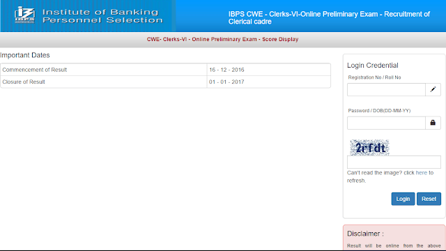 IBPS Clerk VI (Pre) Marks Out - Score Card
