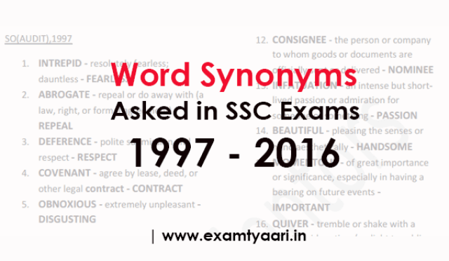 All Synonyms Asked In Ssc Exams 1997 2016 Pdf Exam Tyaari