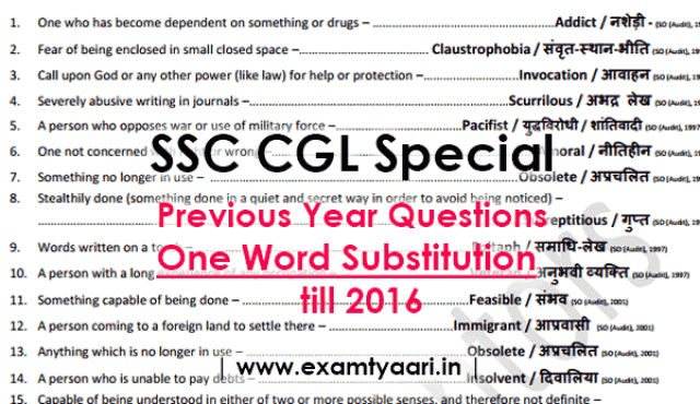 Previous Year One Word Substitution with HINDI Meaning Asked in SSC Exams till 2016 [PDF] - Exam Tyaari