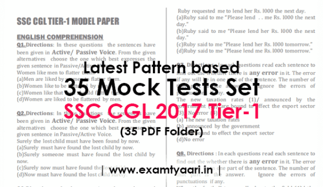 Download Latest pattern 35 Mock Tests Practice Questions Papers for SSC CGL 2017 Tier-1 [PDF] - Exam Tyaari