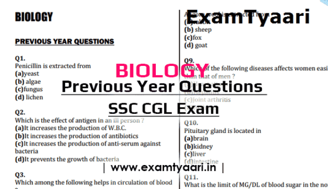 Download Previous Year General Science BIOLOGY Questions for SSC CGL [PDF]  - Exam Tyaari