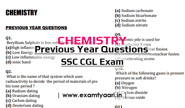 Download Previous Year CHEMISTRY Questions for SSC CGL [PDF