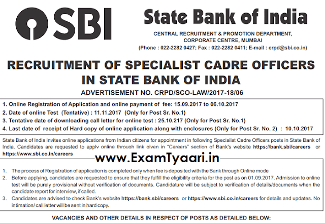 Official Notice: SBI Specialist Officer(Scale-2) Recruitment 2017 [Download PDF] - Exam Tyaari