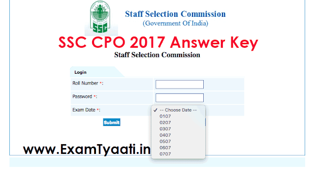 SSC CPO 2017 (Paper-1) Answer Keys Out - Exam Tyaari