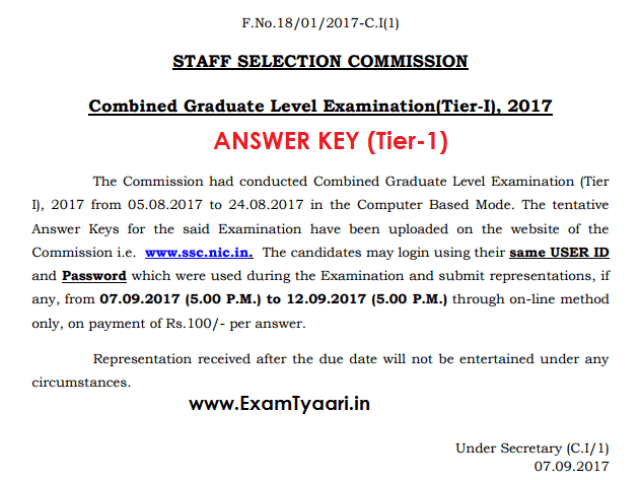 SSC CGL 2017 Tier-1 ANSWER KEY Released [Check Now] - Exam Tyaari