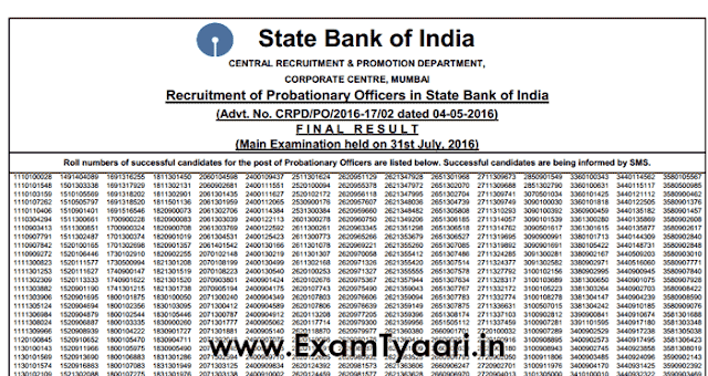 Official-Notice: SBI PO 2017 Final Result Out - Exam Tyaari