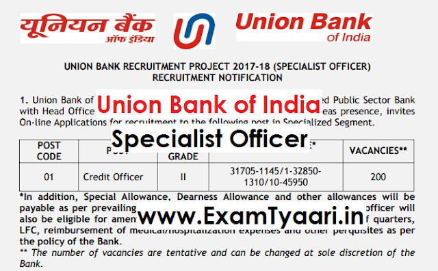 Official: Union Bank of India Specialist Officer Recruitment 2017 [Download PDF Apply Now] - Exam Tyaari