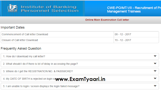 IBPS PO Mains 2017 - Download ADMIT CARDS OUT - Exam Tyaari