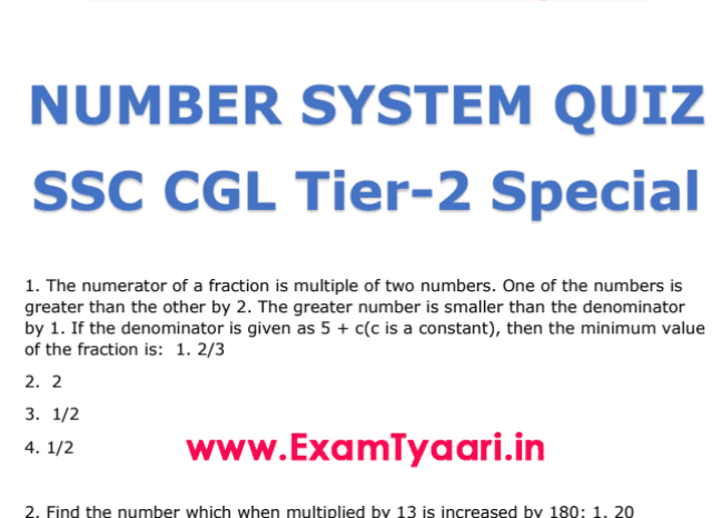 Download Math Number System SSC CGL Tier-2 Special Questions Paper QUIZ [PDF] - Exam Tyaari